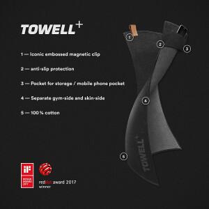 Stryve Towell + Handtuch mit Tasche und Magnetclip,...