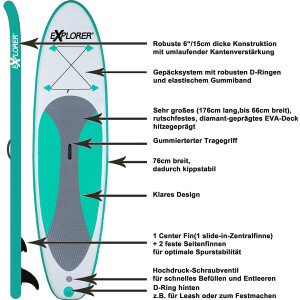 Explorer SUP Board Stand Up Paddle Surfboard aufblasbar...