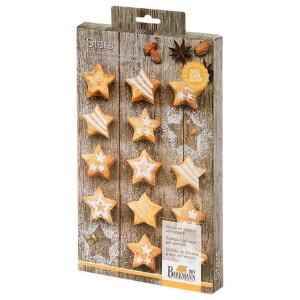 Birkmann 252608 Mini-Cakes Stars, klein 15-Fach, Silikon,...